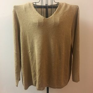 Chaus & Co 2X Gold Shimmer Sweater